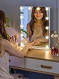 LUXTURNA Hollywood espejo de tocador de escritorio con luz de atenuación USB, control táctil, luz diurna/cálida (Grande)