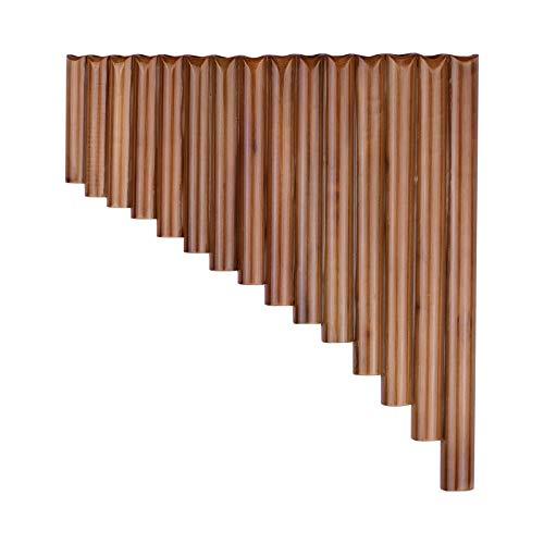 Leeofty 15 Pipas Pan Flauta G Key Pan Pipes Natural Bamboo Panpipes Instrumento de Viento de Madera Tradicional Chino con Bolsa de Transporte
