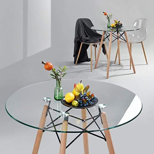 Homy Lin Mesa de Comedor Mesa Eames De Cristal para 4 o 6 Personas Comedor Moderno Cocina Patas de Madera…
