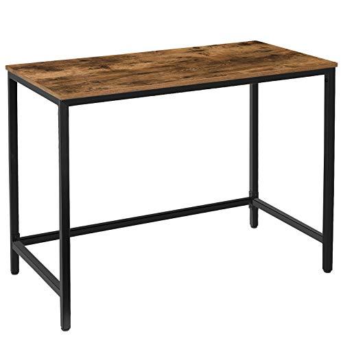 HOOBRO Computertisch, Kleiner Schreibtisch im Industriestil, Bürotisch für das Home Office, 100 x 50 x 75 cm, kleine Räume, Stabiler Metallrahmen, leicht zu montieren, Dunkelbraun-Schwarz EBF50DN01