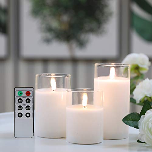 JHY DESIGN Set of 3 Glass Wax Flameless Candles 3D Effect LED Candles White Wax Flickering Battery Candles with 8-Key Remote Control Timer for Home Wedding Party Christmas(Pivoted Flame-Shaped Tip)