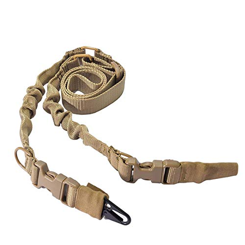 WOLTIS Two Point Gun Sling Adjustable Bungee Rifle Sling Strap Military Tactical QD Quick Detach Sling with Hook for Outdoor Hunting Shooting TAN