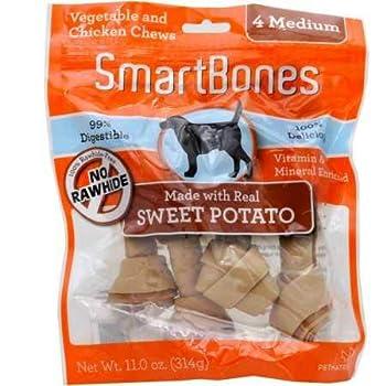 SmartBones 923040 Sweet Potato Dog Chew Medium 4 pieces/pack