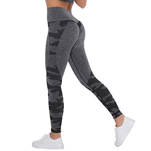 Vertvie Damen Leggings Blickdicht Nahtlos Lange Camouflage Sporthose High Waist Tights Yogaleggings Strech Fitnesshose Elastizität schnelltrocknend Trainninghosen Laufenhosen für Gym Workout