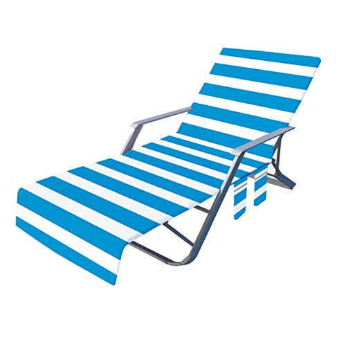 CHAODI Beach Chair Cover with Side Pockets, Microfiber Lounge Chair Towel Cover for Sun Lounger Pool Sunbathing Garden Beach Hotel, 82.6X28.7in