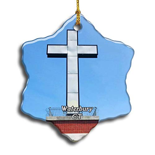 'N/A' Waterbury Holy Land USA Ruins Connecticut USA America Christmas Ceramic Ornament Xmas Tree Decor Souvenirs Double Sided Snowflake Porcelain Home Gifts