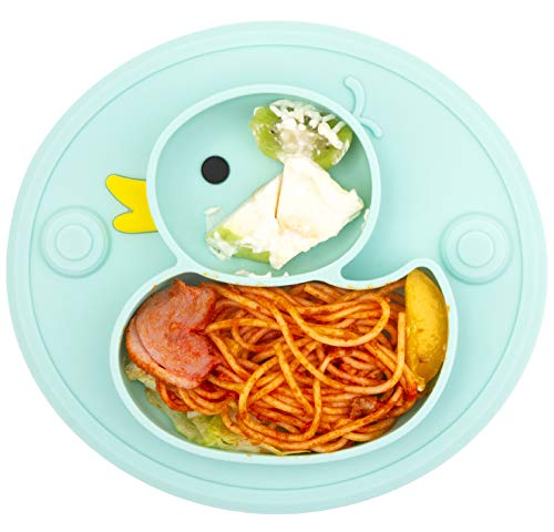 Silicone Toddler Plates with Dividers for Baby and Kids Baby Dishes BPA Free