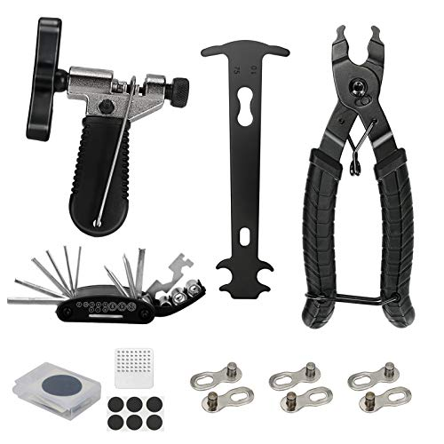 Ideashop Bicycle Chain Tool Kit, with Bike Link Plier, Chain Breaker Splitter, Chain Wear Gauge, Multi Bike Repair Tool, Bike Link Opener Closer Plier Chain Cutter Connector Wear Indicator Tool Set
