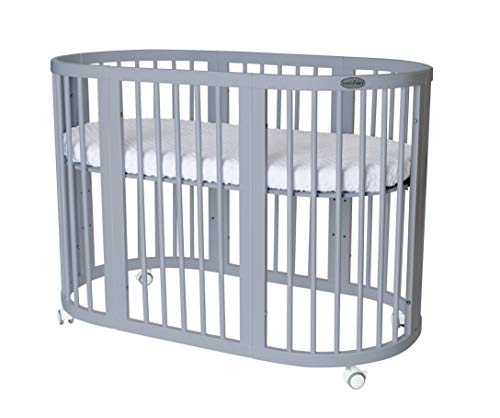 INGVART SMART Bed 9 en 1 - Cuna ovalada creciente (65 x 76 cm, 125,173 cm, con colchón relleno de coco MIDI 60 x 120 cm), color gris
