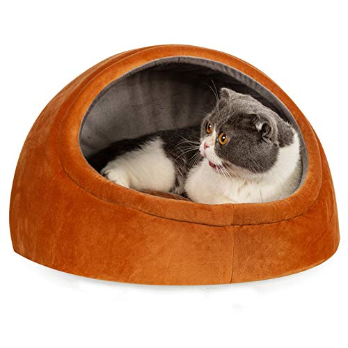 HEPEENG Cat Bed with Pillow for Indoor Cats, Pet Cave Beds, for Small Dogs, Puppy, Kitty, Anti-Slip & Water-Resistant Bottom (Orange)