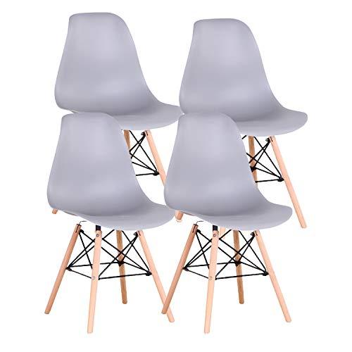 JIASEN Juego de 4 sillas de comedor de diseño moderno, sillas de comedor de plástico con patas de madera para oficina, cocina, dormitorio, color gris