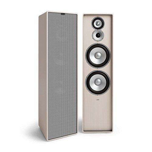 NUMAN Retrospective 1977 MKII - Standlautsprecher, 3-Wege Lautsprecher, Paar HiFi Speaker, mit Grauer Lautsprecherabdeckung, 120 Watt, 2 x 20 cm-Tieftöner, 10 cm-Mitteltöner, Hochtöner, weiß
