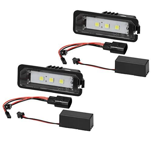 Preisvergleich Produktbild ECD Germany 2 x LED Kennzeichenbeleuchtung mit E-Prüfzeichen - 6000K Xenon Weiß - Canbus - Plug & Play - Fehlerfrei - LED Kennzeichenleuchte mit Zulassung Nummernschildbeleuchtung