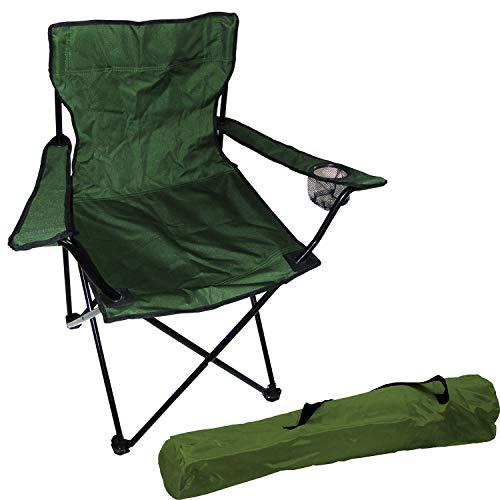 FineHome Anglersessel Campingstuhl Faltstuhl Anglerstuhl Regiestuhl inkl. Getränkehalter und Tasche in Grün