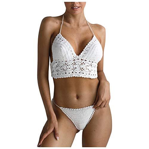 YANFANG 2021 Bikini Femenino Atractivo De La Onda del Color SóLido Taza Traje BañO Encubrimiento Dividido Ropa Playa Bikinis BrasileñOs Tanga Mujer Sexy BañAdor Talle Bajo Anudado