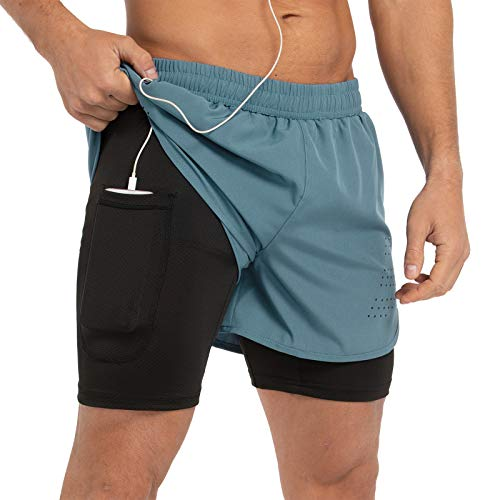 Gesean Men's 2 in 1 Running Athletic Shorts Quick Dry Active Gym Shorts Back Zipper Pocket Arona Blue Large