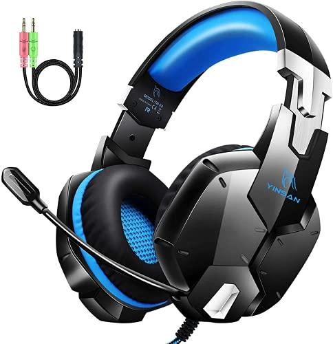 Auriculares Gaming PS4, Cascos Gaming con Micrófono, 3D Sonido y Reducción de Ruido, Jack 3,5mm, Control de Radio, PC/Mac/Xbox One/Nintendo Switch