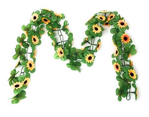 Marzoon Fahrradgirlande künstliche Blumengirlande ca. 130 cm zum Verschönern Ihres Fahrrades oder Ihrer Wohnung (Gelb – Sonnenblume)