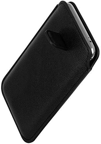 ONEFLOW Schlanke Einsteckhülle mit Rückzug-Funktion kompatibel mit LG Google Nexus 5X | Premium Microfaser Innenfutter + robuste Zug-Lasche, Schwarz