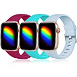Haveda Sport Compatible for Apple Watch SE Series 6 Series 5 4 40mm Band, Cute iWatch Bands 38mm Womens Breathable Wristband for Apple Watch 38mm Series 3 2 1, 3pack Teal/Red/Turquoise 38mm/40mm S/M