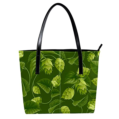 LORVIES - Borsa a tracolla da donna con motivo di agrifoglio e foglie verdi