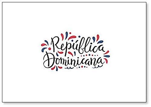Imán para nevera de la República Dominicana con texto caligráfico escrito a mano