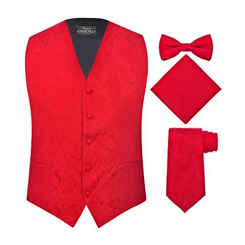 S.H. Churchill & Co. Men's 4 Piece Paisley Vest Set, with Bow Tie, Neck Tie & Pocket Hanky - 2XL, Red