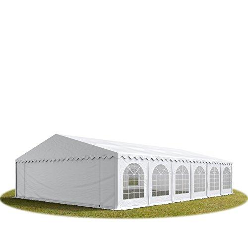 TOOLPORT Festzelt Partyzelt 8x12 m feuersicher Premium, hochwertige ca. 500g/m² PVC Plane in weiß 100% wasserdicht mit Bodenrahmen