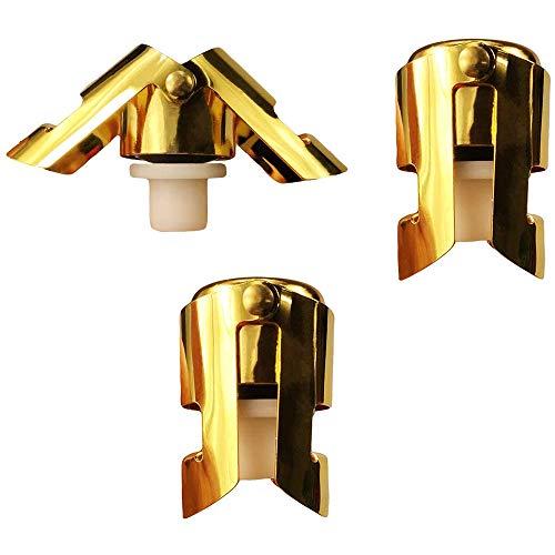 Gesh Sellador de tapón de champán dorado pulido, paquete de 3 botellas de vino espumoso, corcho con un tapón de sellado más largo