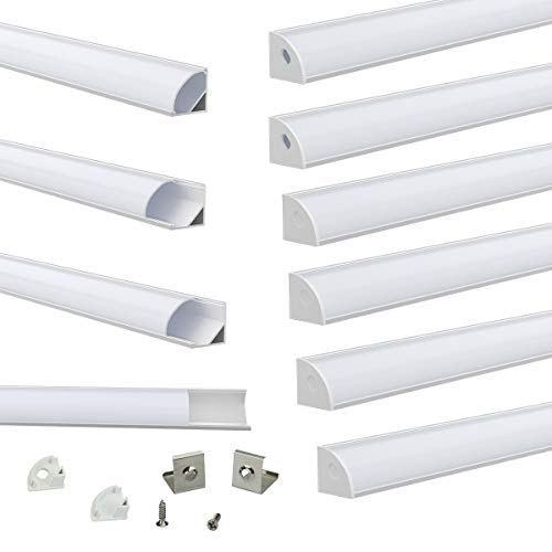 Muzata V-Shape LED Channel System with Milky White Cover Lens Frosted Diffuser,Silver Aluminum Extrusion Profile Housing Track for Strip Tape Lights V1SW 1M WW,LV1 LW1,10PACK 1M/3.3FT