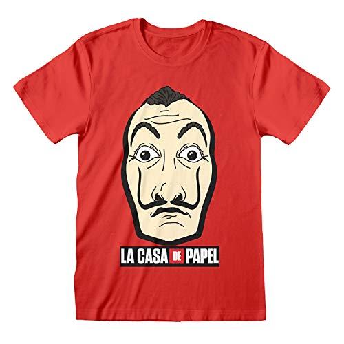 La Casa De Papel Máscara Dinero Heist Novio Camiseta Apta de Las Mujeres Rojo S | S-XXL, Flojo Holgado de Cuello Redondo de Gran tamaño gráfico Superior, la Idea del Regalo de cumpleaños para Damas