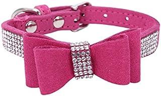 DORLIONA Bling Diamante Cat Dog Collars Necklace Puppy Kitten Dog Collars : Rose Red, XS
