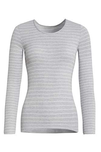 Conta Thermo Langarm Shirt, wärmendes Thermoshirt aus natürlicher Baumwolle, bequemes Basic-Oberteil, Damenbekleidung, Sterling Geringelt, Größe: 38