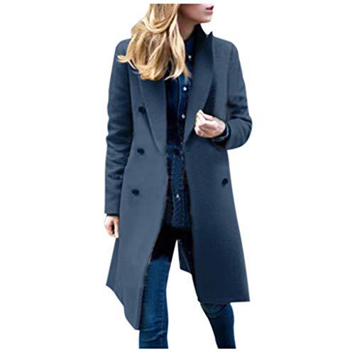 YueLove Damen Winter Revers Wollmantel Einfarbige Taste Langarm Zweireiher Raglan Trench Jacke Lange Parka Overcoat Outwear Mantel