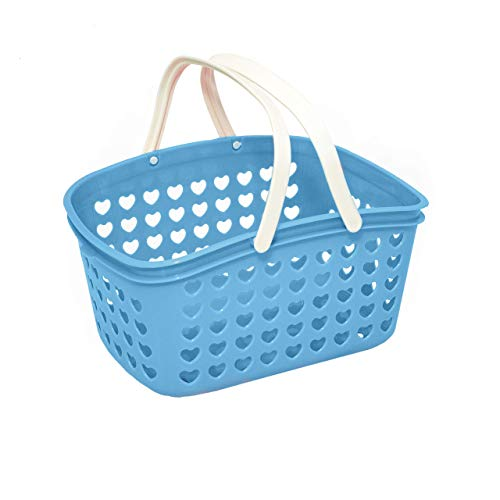 Plastic Organizing Storage Small Basket with Handles and Holes - Mini Bin for Shower, Closet, Kitchen, Garden, Bathroom, Toys, Candy by Valenoks (Soft-Blue)