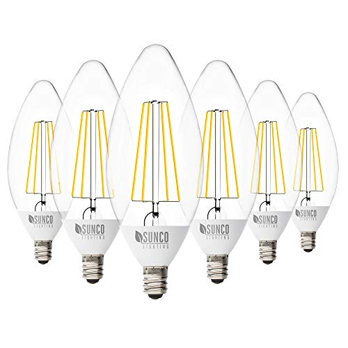 Sunco Lighting 6 Pack B11 LED Candelabra Bulb, Dusk to Dawn, 5W=40W, 2700K Soft White, Filament, 500 LM, E12 Base, Outdoor Decorative Light for Sconces - UL
