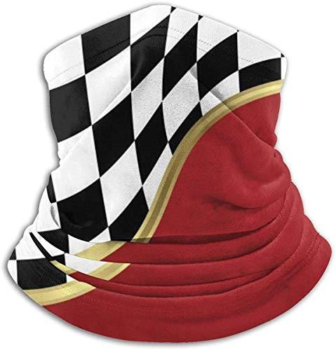 Cathycathy Gold Metallic Racing Geblokte vlag Halswarmer Gamas Winddichte mond sjaal voor mannen vrouwen