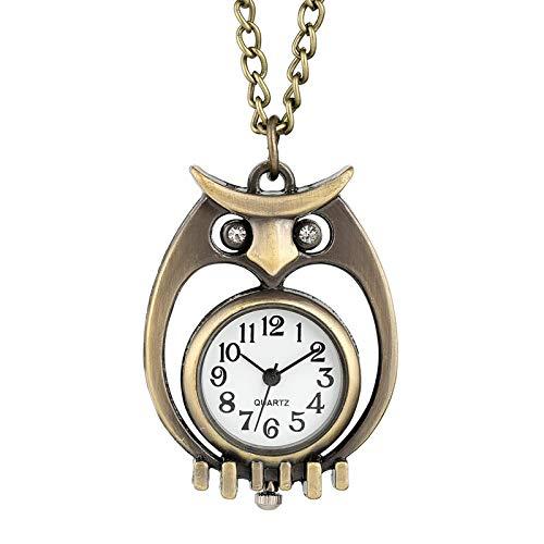 Reloj de Bolsillo con Hueco de Bronce único, Caja de búho con Ojo de Diamante, Collar con Colgante de Cadena Fina y Duradera, Reloj de Cuarzo, Regalos para Hombres y Mujeres