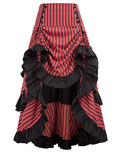 Belle Poque - Falda Larga Estilo Retro gótico de Rayas para Mujer