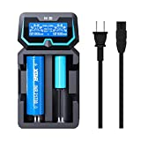 Protected 21700 Charger XTAR New X2 3.7V 2 Bay Universal Battery Charger Protected 20700 Fast Charger with LCD Display for 18650 14500 26650 1.2V AA AAA Battery Max 2A with AC Adapter Mirco USB Ports