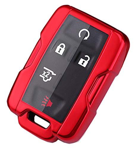Soft TPU Key Fob Cover Case Remote Holder Skin Glove Fit for Chevy Chevrolet Silverado Colorado/GMC Sierra Canyon Yukon Cadillac (Red)