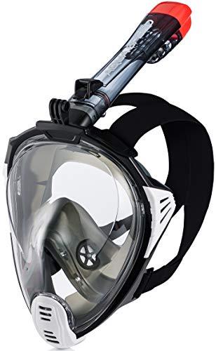 Aqua Speed diving mask with snorkel adult I full face snorkel mask I full face snorkel mask I holder for GoPro camera I swimming I + microfibre cloth I size L-XL, 17.black I drift