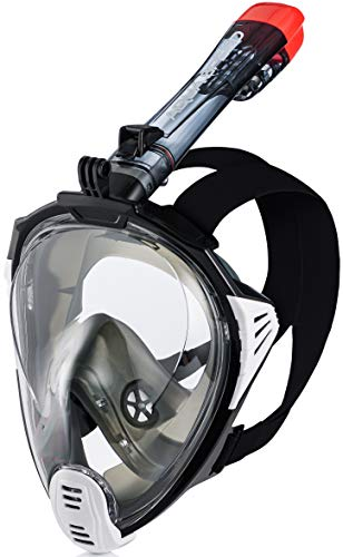 Aqua Speed Tauchmaske mit Schnorchel Erwachsene I Voll Tauchermaske I Full Face Schnorchelmask I Halterung für GoPro Kamera I Schwimmen I + Mikrofasertuch I Gr. L-XL, 17.Schwarz I Drift