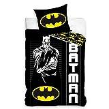 Funda de edredón de Batman, color negro y amarillo, 140 x 200 cm, niño, 100% algodón, funda de almohada de 70 x 90 cm, con cremallera.