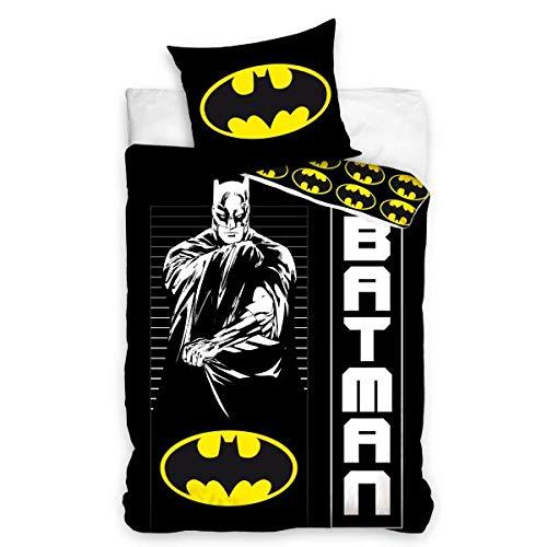 Housse de Couette Batman , Noir/Jaune, 140x200cm, Enfant, 100% Coton, Taie d'oreiller 70x90cm, Zippée