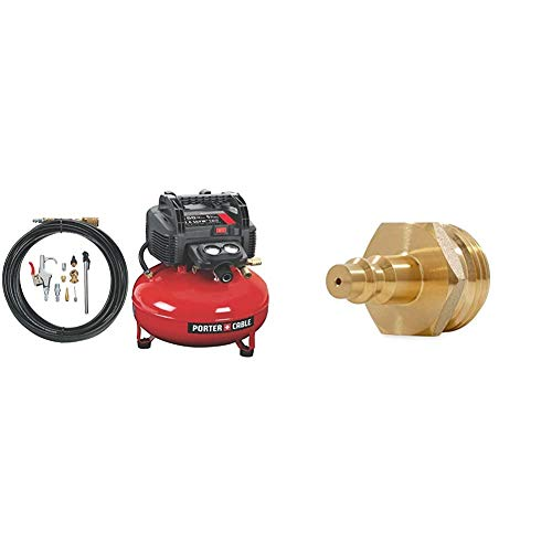 PORTER-CABLE C2002-WK Oil-Free UMC Pancake Compressor with 13-Piece Accessory Kit & Camco Blow Out Plug With Brass Quick Connect-Aids In Removal of Water From Water Lines (36143)