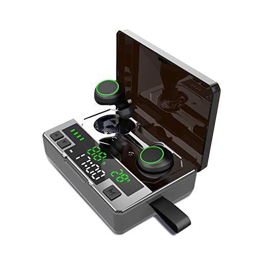 Bluetooth Kopfhörer In Ear Kabellos Kopfhörer Bluetooth 5.0 Stereo IPX8 Wasserdicht 180H Spielzeit Sport Geräuschunterdrückung Bluetooth Headset mit Mikrofon Tragbare 5000mAh Ladebox (Schwarz)