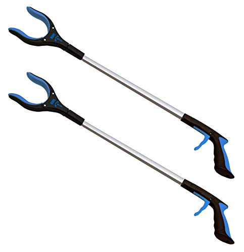 2Pack 32 Inch Extra Long Grabber Reacher with Rotating Jaw  Mobility Aid Reaching Assist Tool Blue