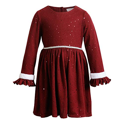 Youngland Girls' Long Sleeve All Over Foil Dot Dress with Faux Fur Trim, Burgundy, 4T
