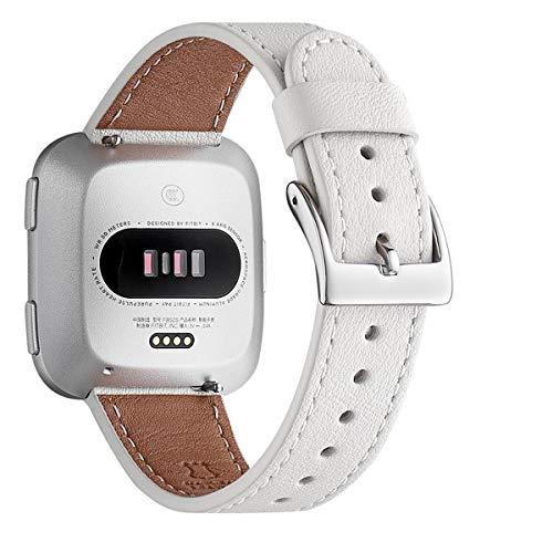 WFEAGL für Fitbit Versa Armband,Lederband mit Edelstahl-Verschluss für Fitbit Versa/Versa 2 /Versa Lite/Versa SE Fitness Smart Watch(Weiße+Silber Schnalle)